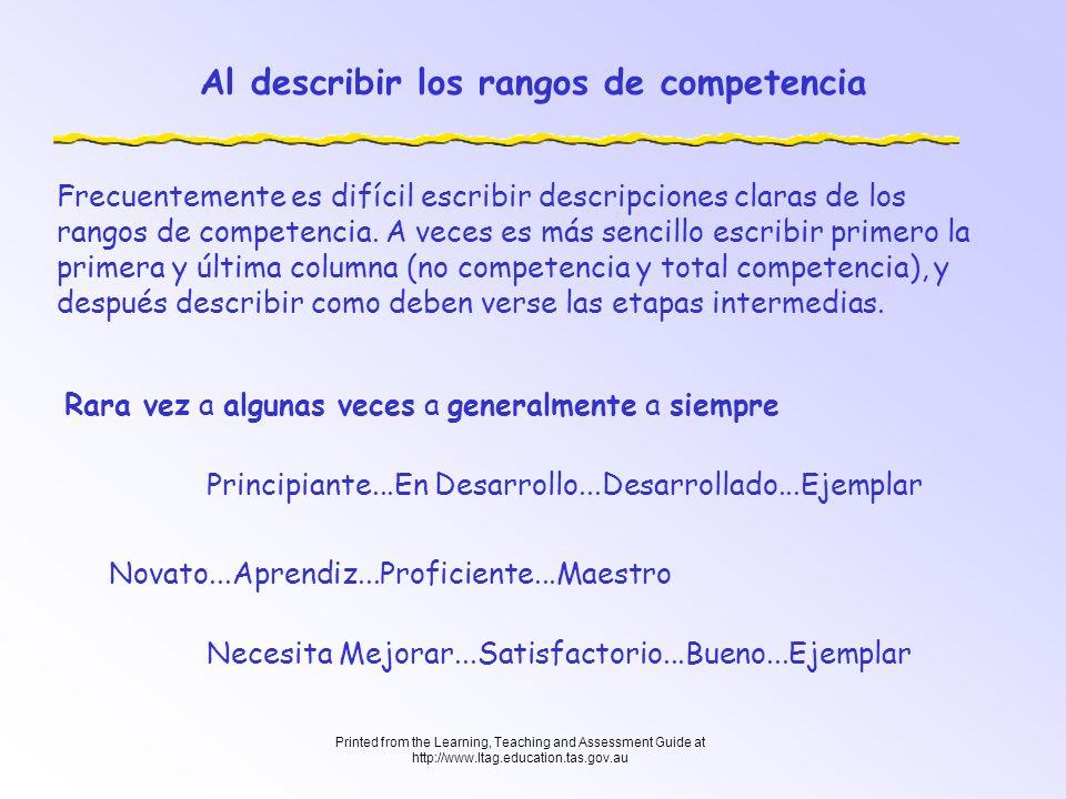Al describir los rangos de competencia