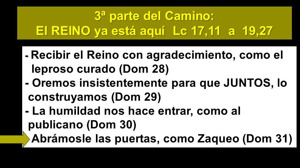 3ª parte del Camino: El REINO ya está aquí Lc 17,11 a 19,27