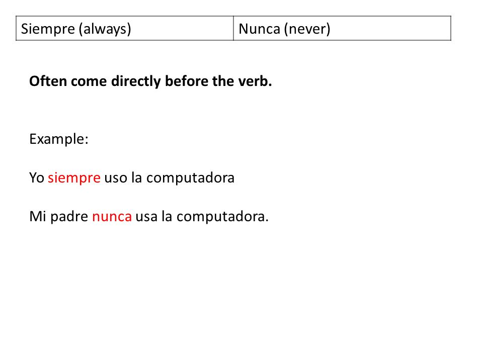 Siempre (always) Nunca (never) Often come directly before the verb. Example: Yo siempre uso la computadora.