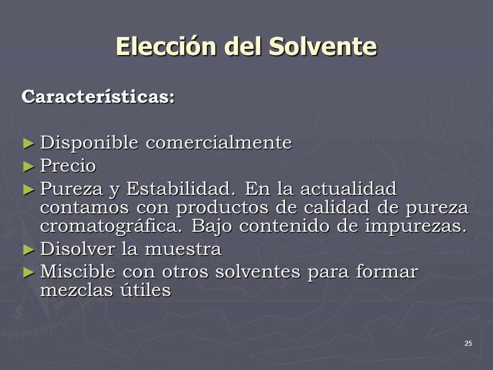 Elección del Solvente Características: Disponible comercialmente