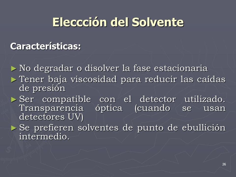 Eleccción del Solvente