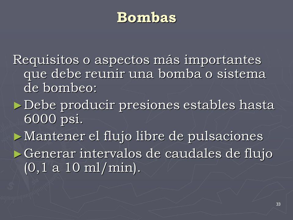 Bombas Requisitos o aspectos más importantes que debe reunir una bomba o sistema de bombeo: Debe producir presiones estables hasta 6000 psi.