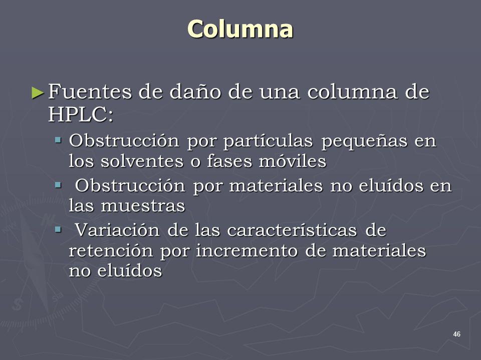 Columna Fuentes de daño de una columna de HPLC: