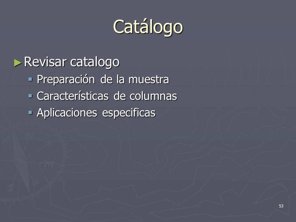Catálogo Revisar catalogo Preparación de la muestra