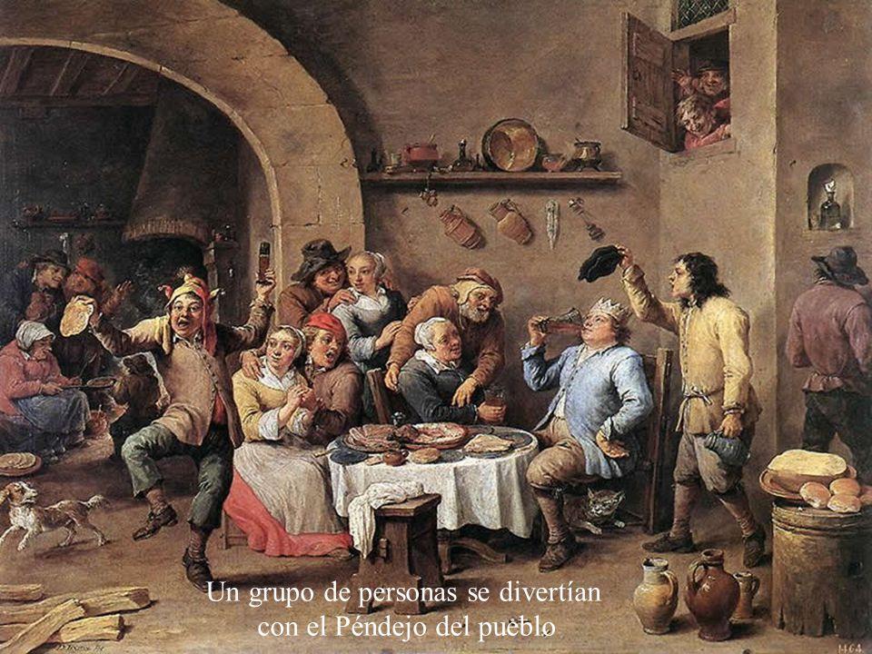 Un grupo de personas se divertían con el Péndejo del pueblo