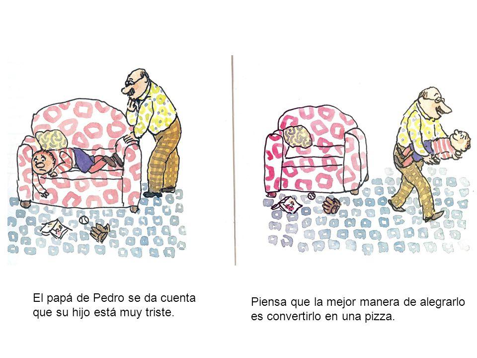 El papá de Pedro se da cuenta que su hijo está muy triste.