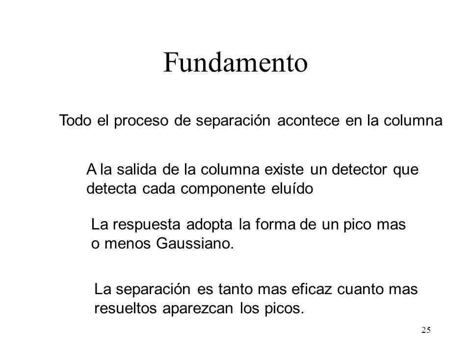Fundamento Todo el proceso de separación acontece en la columna