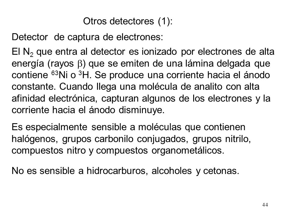 Otros detectores (1): Detector de captura de electrones: