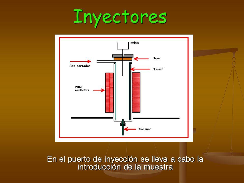Inyectores En el puerto de inyección se lleva a cabo la introducción de la muestra