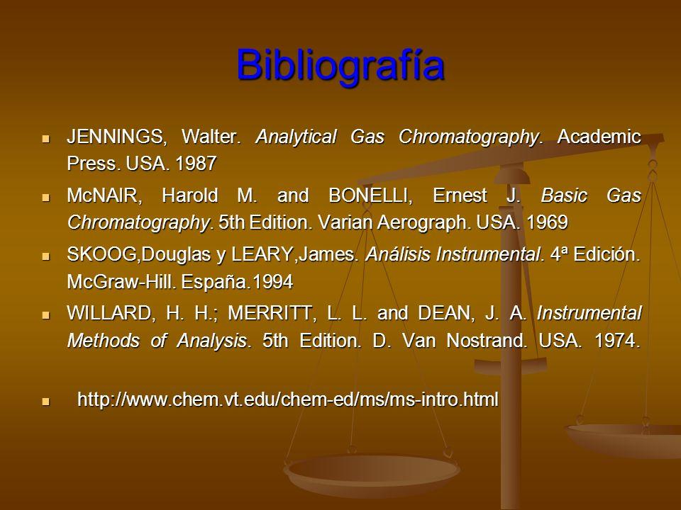 Bibliografía JENNINGS, Walter. Analytical Gas Chromatography. Academic Press. USA. 1987.