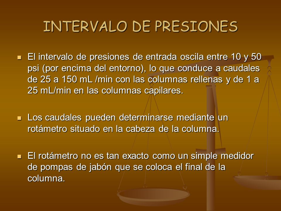 INTERVALO DE PRESIONES
