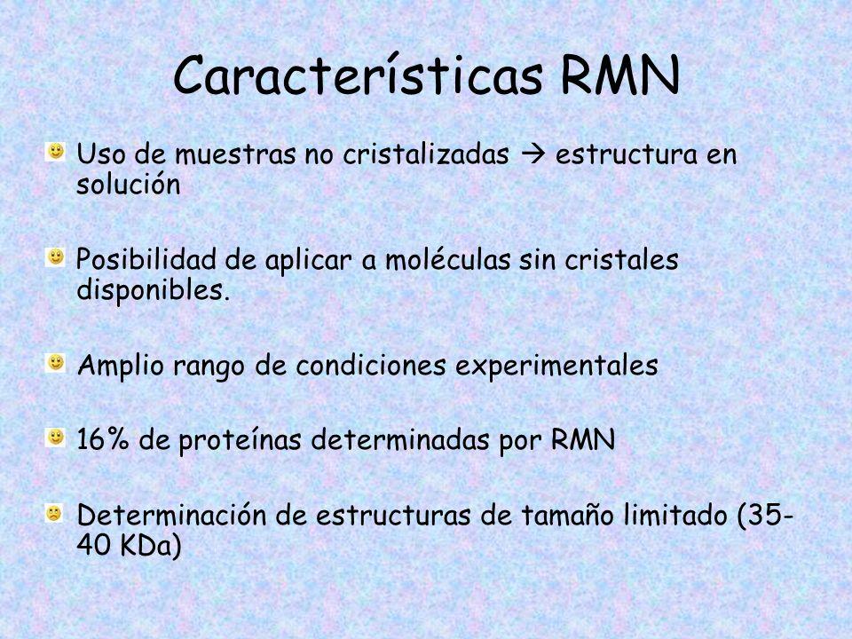 Características RMN Uso de muestras no cristalizadas  estructura en solución. Posibilidad de aplicar a moléculas sin cristales disponibles.