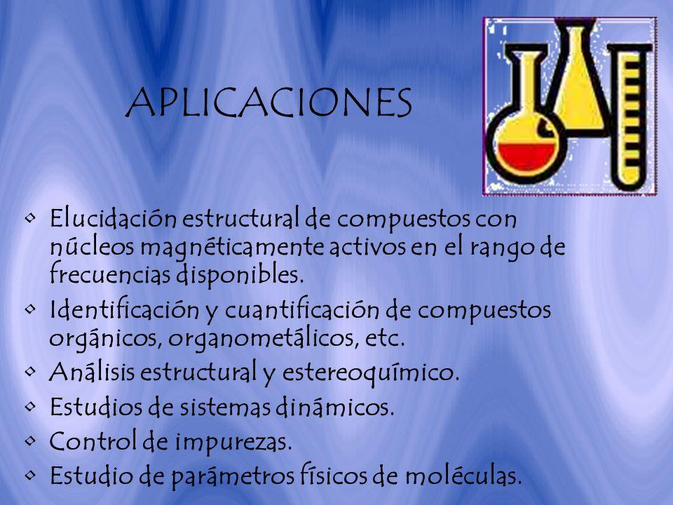 APLICACIONES Elucidación estructural de compuestos con núcleos magnéticamente activos en el rango de frecuencias disponibles.