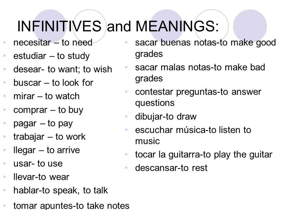 INFINITIVES and MEANINGS: