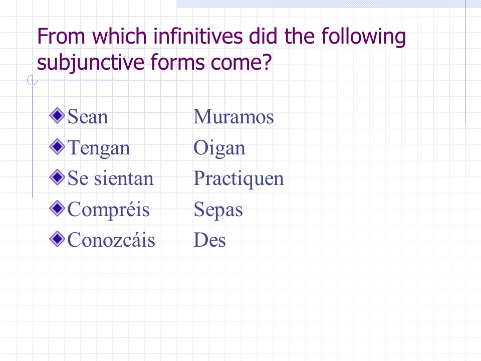 From which infinitives did the following subjunctive forms come