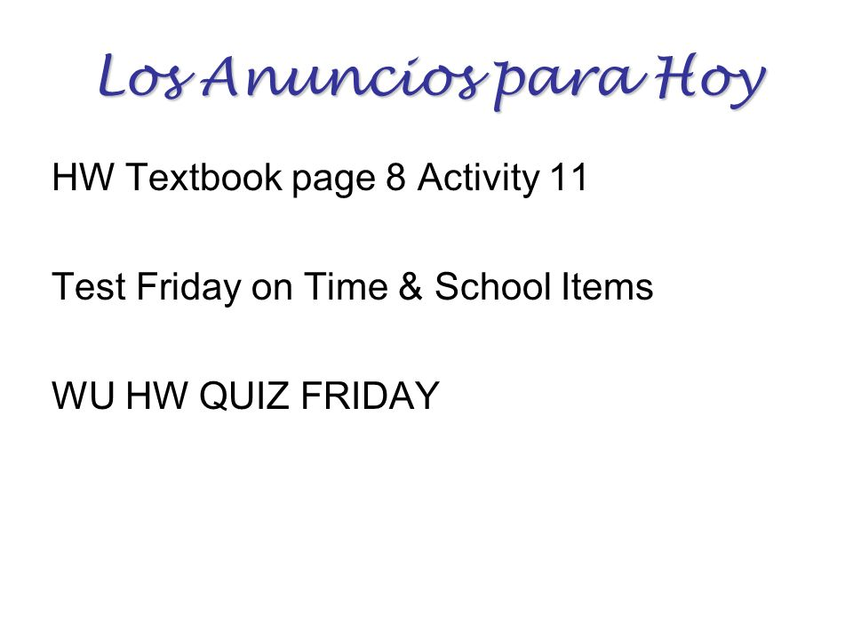 Los Anuncios para Hoy HW Textbook page 8 Activity 11