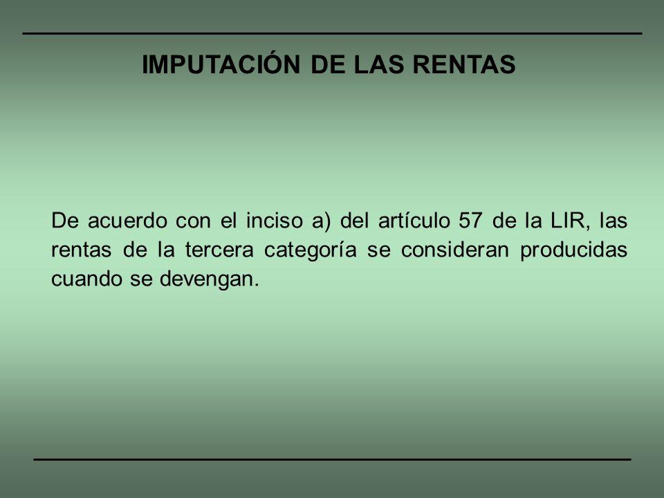 IMPUTACIÓN DE LAS RENTAS