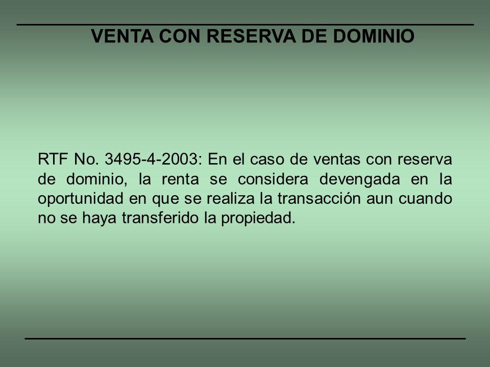 VENTA CON RESERVA DE DOMINIO