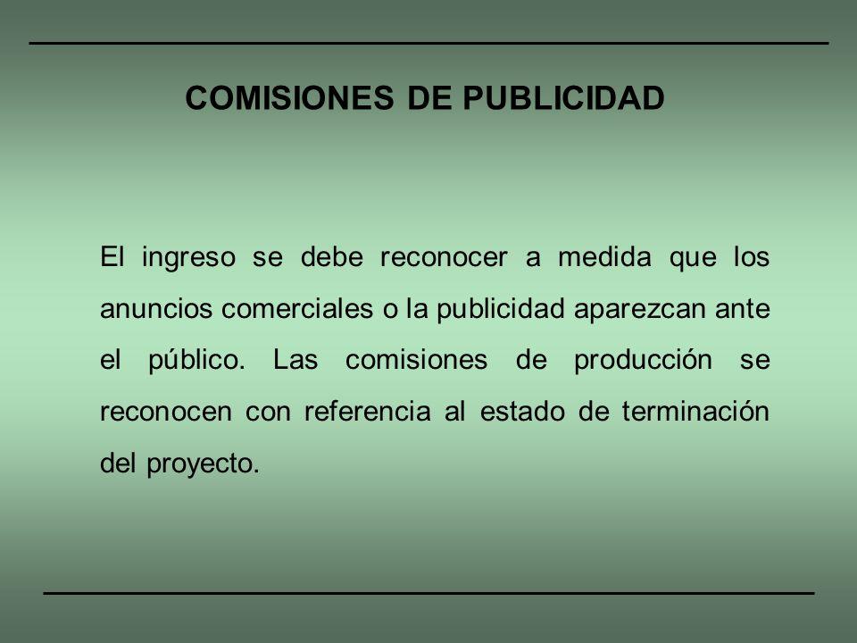 COMISIONES DE PUBLICIDAD