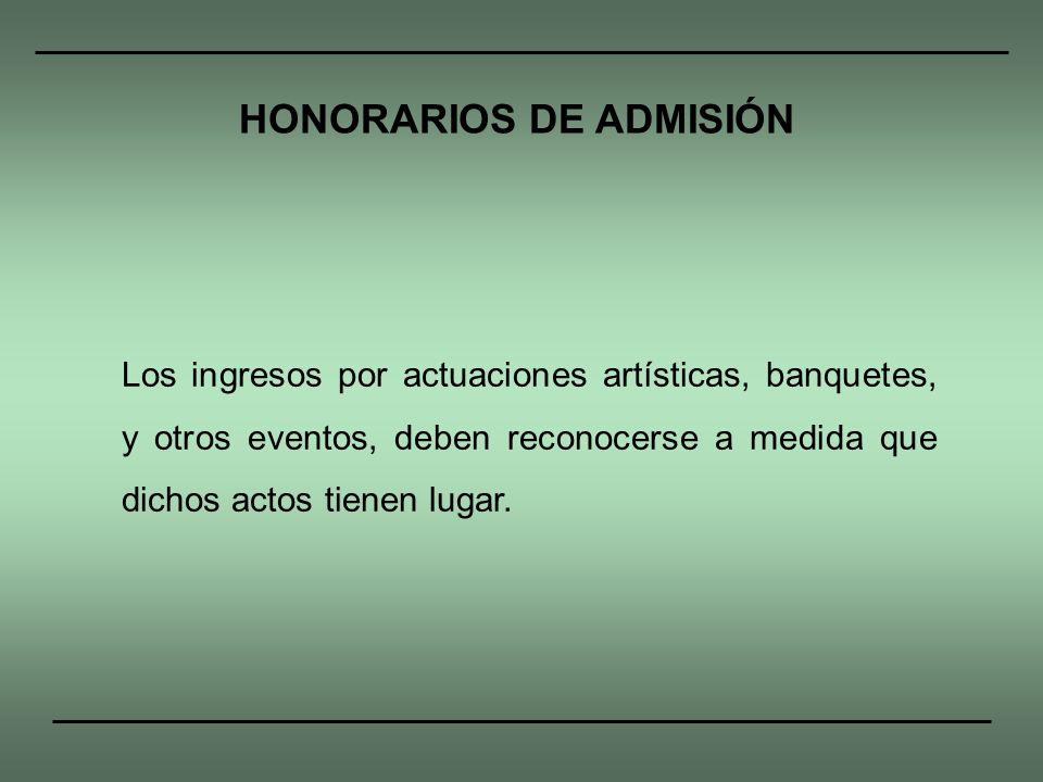 HONORARIOS DE ADMISIÓN
