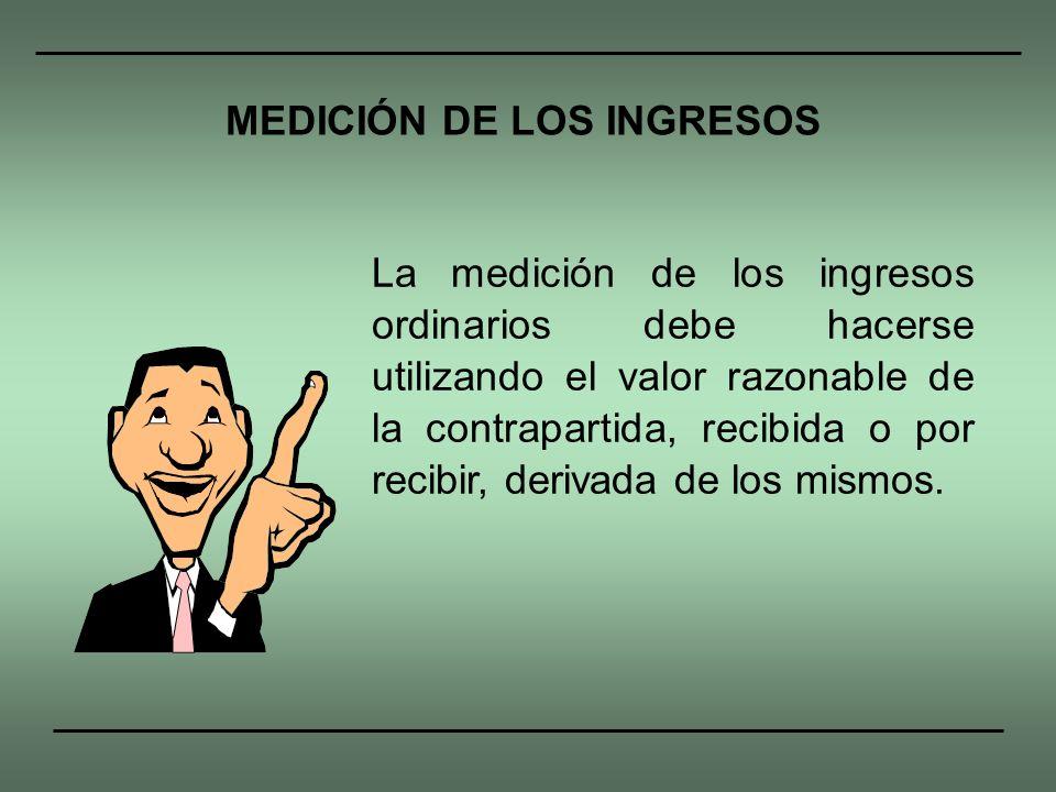 MEDICIÓN DE LOS INGRESOS