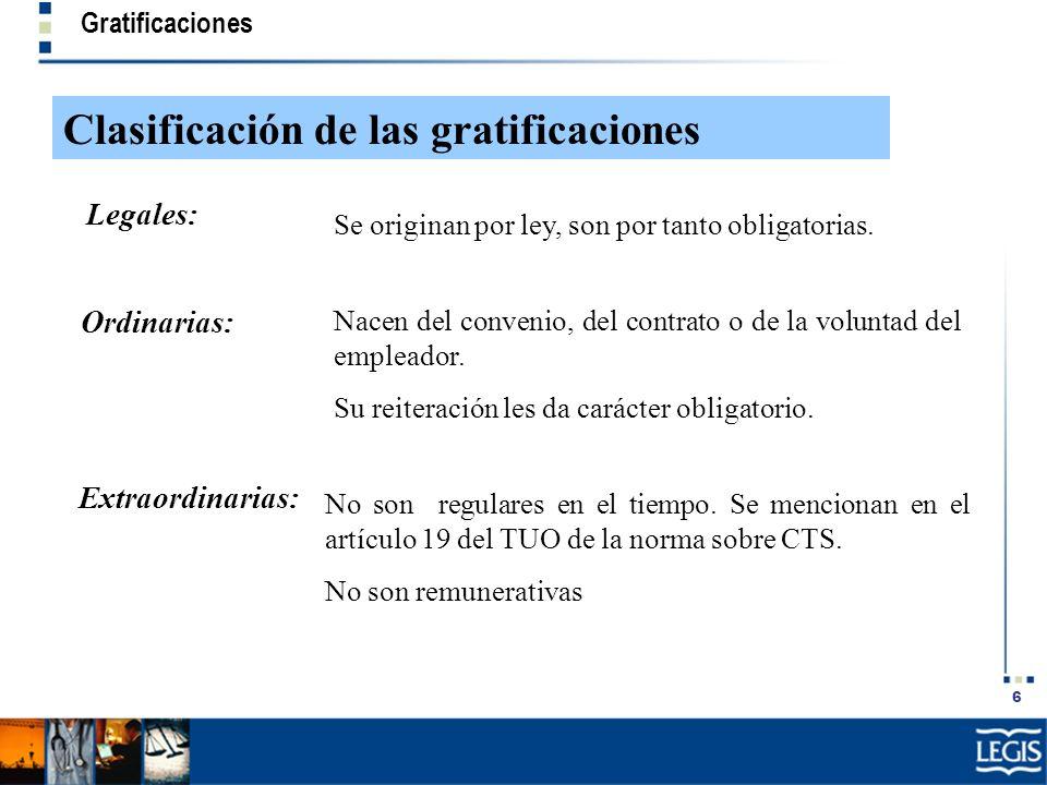 Clasificación de las gratificaciones