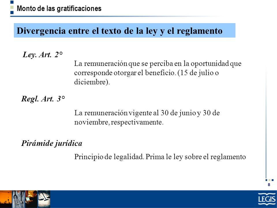 Divergencia entre el texto de la ley y el reglamento