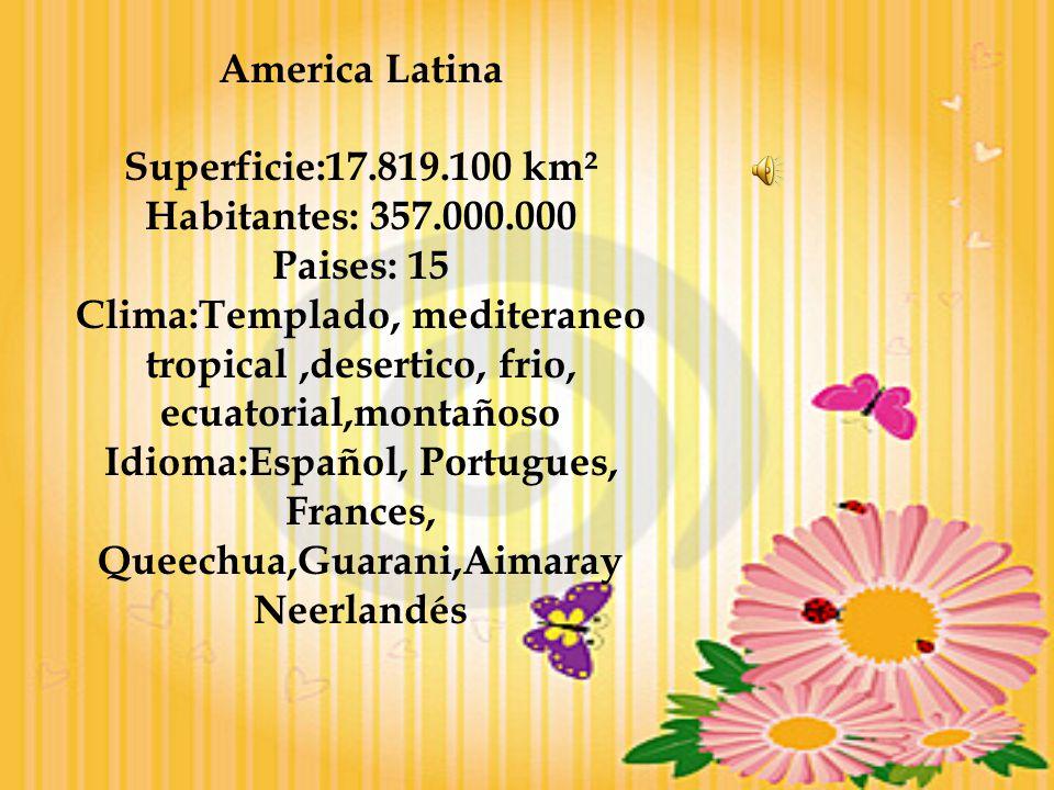America Latina Superficie:17.819.100 km². Habitantes: 357.000.000. Paises: 15.
