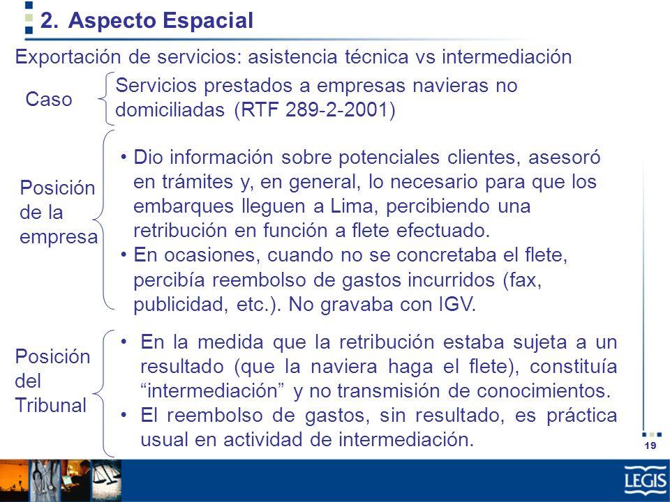 Aspecto Espacial Exportación de servicios: asistencia técnica vs intermediación.