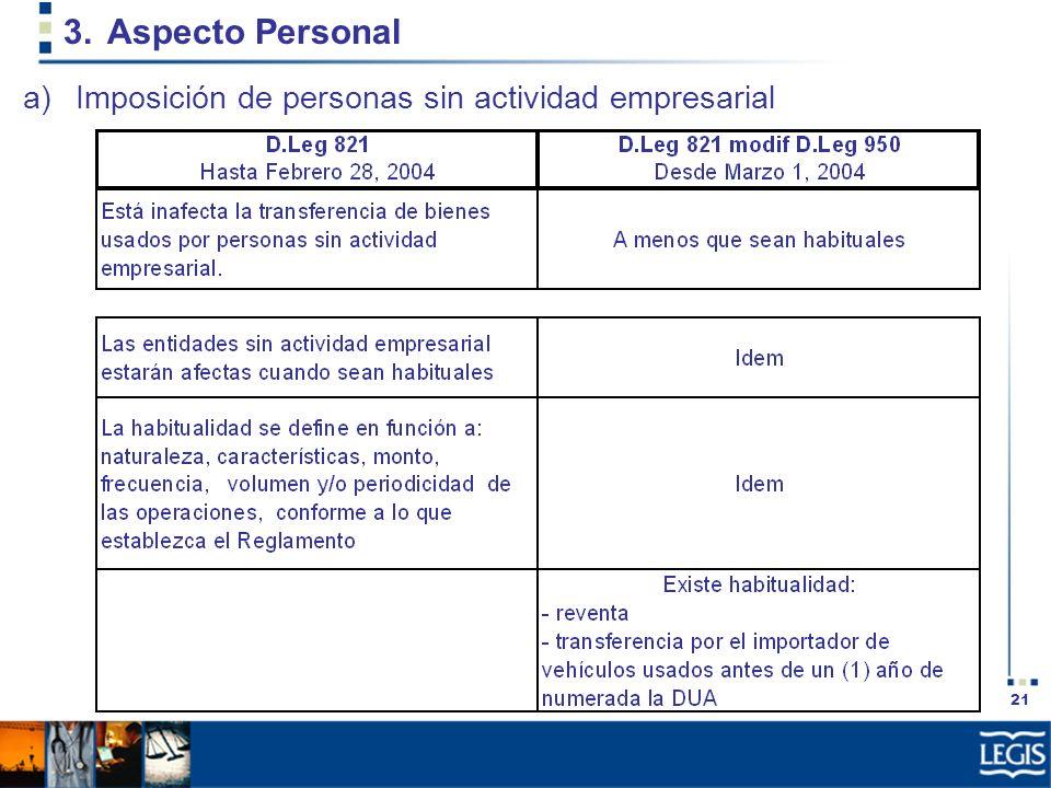Aspecto Personal Imposición de personas sin actividad empresarial