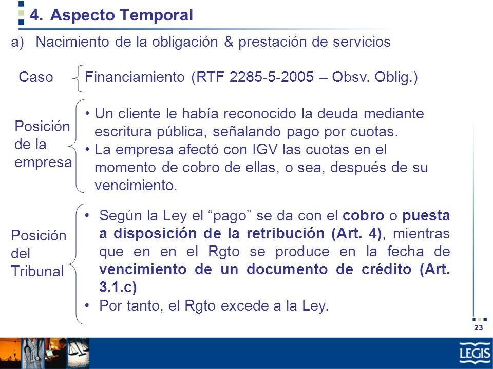 Aspecto Temporal Nacimiento de la obligación & prestación de servicios