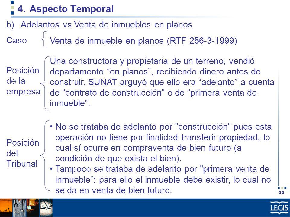 Aspecto Temporal Adelantos vs Venta de inmuebles en planos Caso
