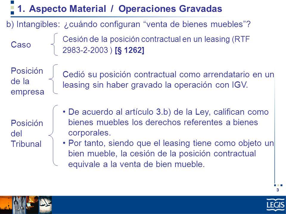 Aspecto Material / Operaciones Gravadas