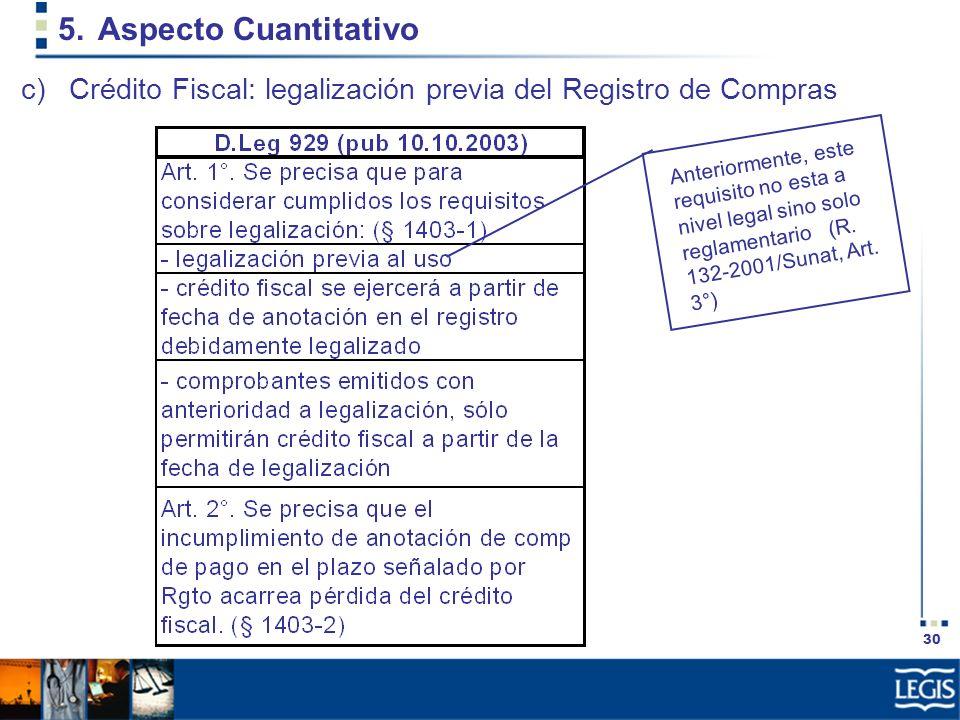 Aspecto Cuantitativo Crédito Fiscal: legalización previa del Registro de Compras.