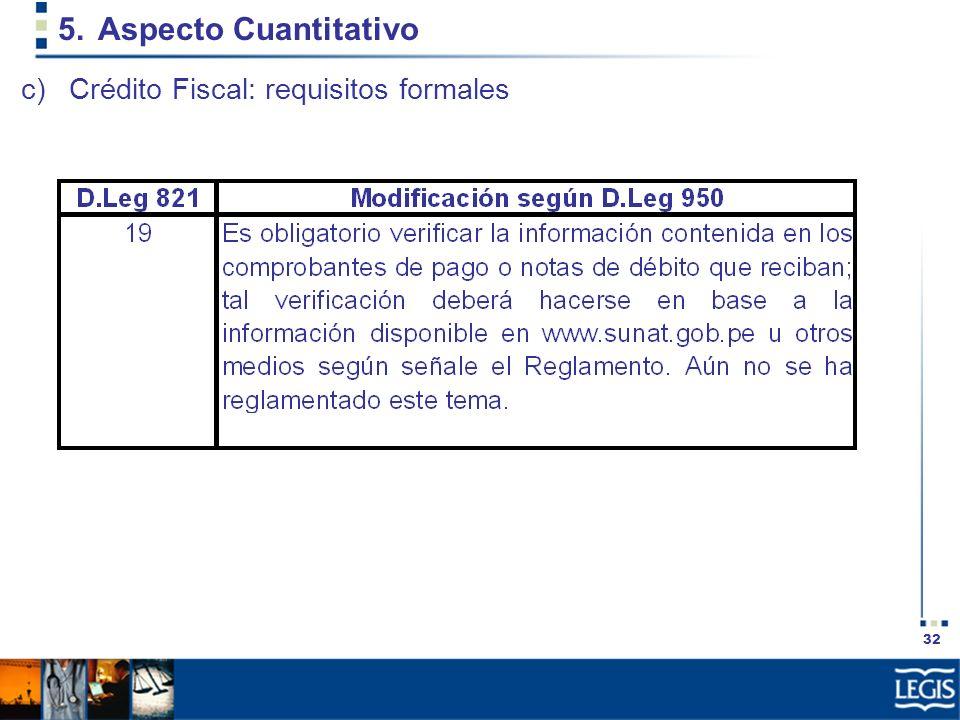 Aspecto Cuantitativo Crédito Fiscal: requisitos formales