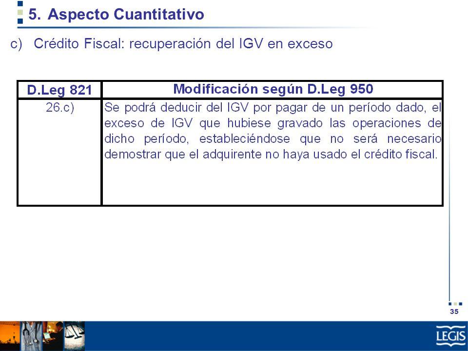 Aspecto Cuantitativo Crédito Fiscal: recuperación del IGV en exceso