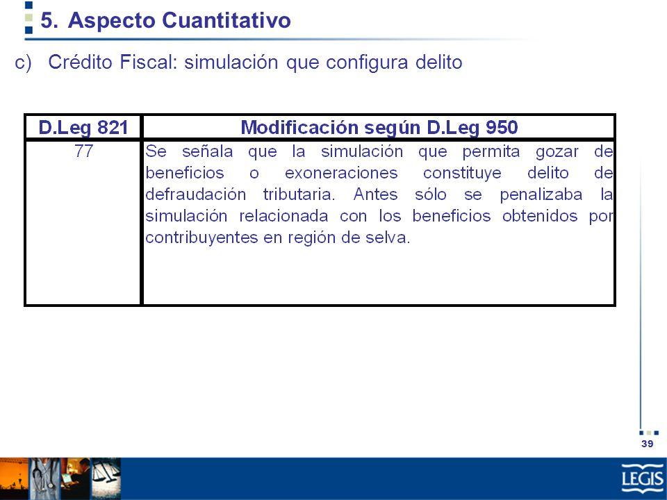 Aspecto Cuantitativo Crédito Fiscal: simulación que configura delito