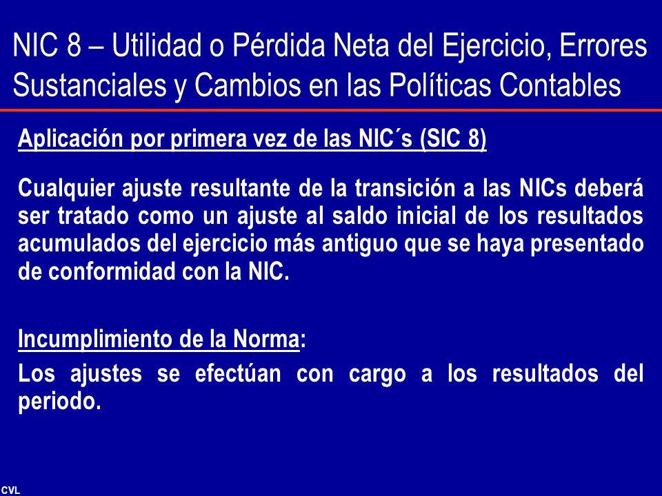 NIC 8 – Utilidad o Pérdida Neta del Ejercicio, Errores Sustanciales y Cambios en las Políticas Contables