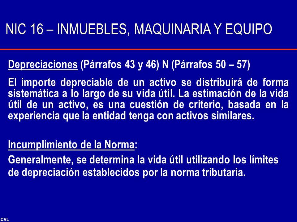 NIC 16 – INMUEBLES, MAQUINARIA Y EQUIPO