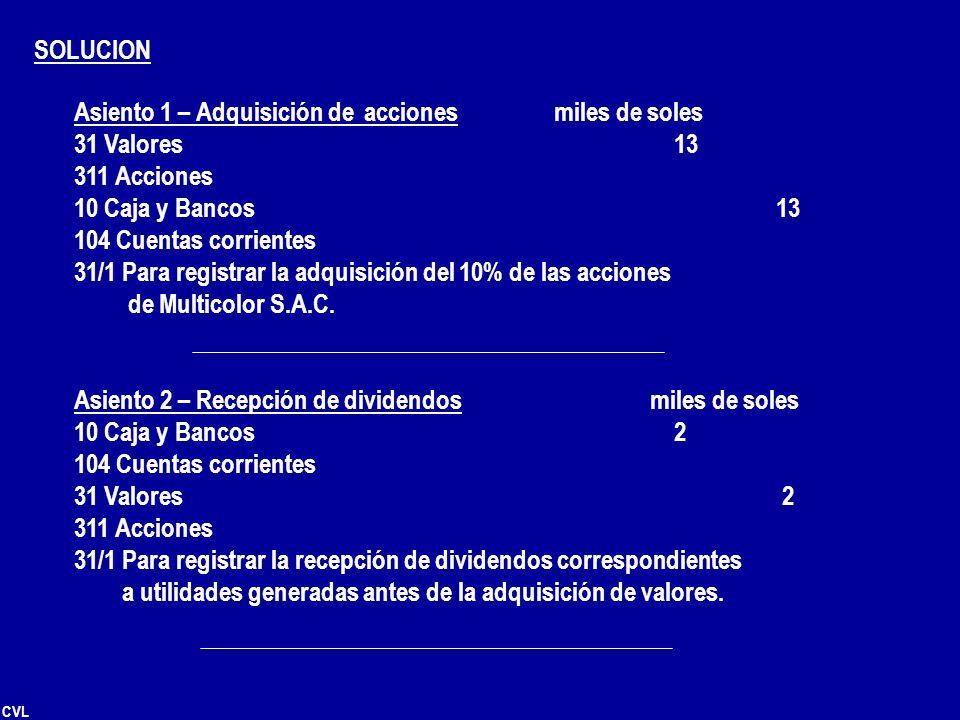 SOLUCION Asiento 1 – Adquisición de acciones miles de soles. 31 Valores 13. 311 Acciones.
