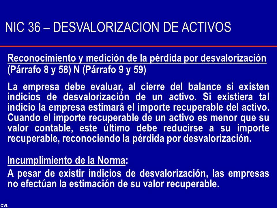 NIC 36 – DESVALORIZACION DE ACTIVOS