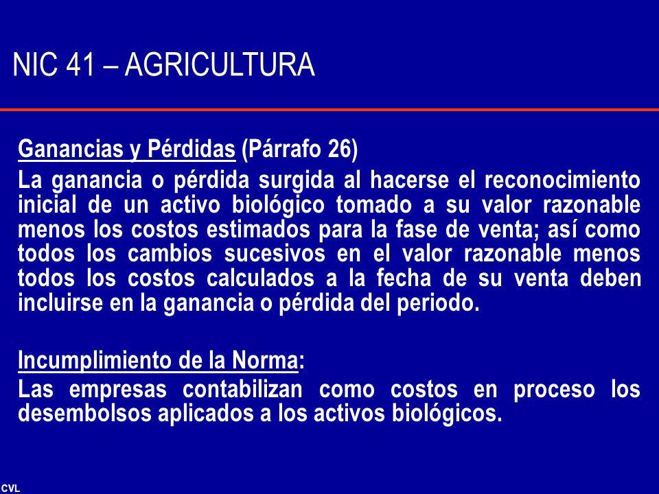 NIC 41 – AGRICULTURA Ganancias y Pérdidas (Párrafo 26)