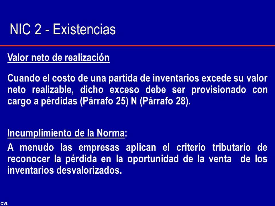 NIC 2 - Existencias Valor neto de realización