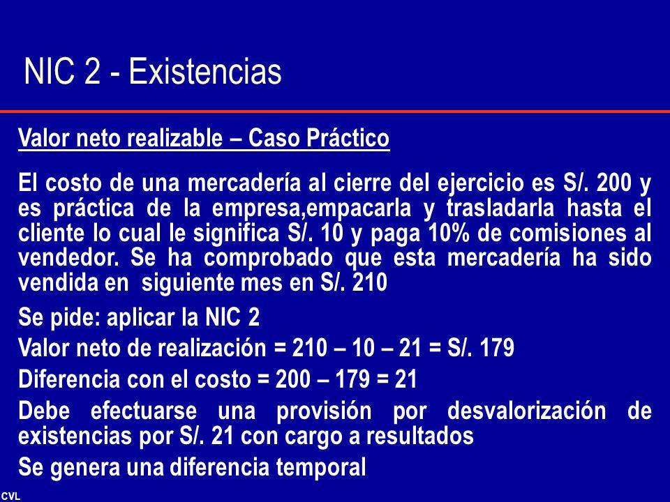 NIC 2 - Existencias Valor neto realizable – Caso Práctico
