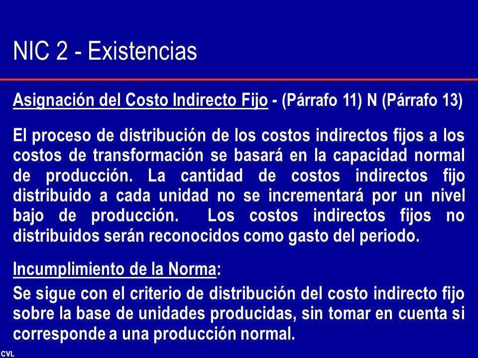 NIC 2 - Existencias Asignación del Costo Indirecto Fijo - (Párrafo 11) N (Párrafo 13)