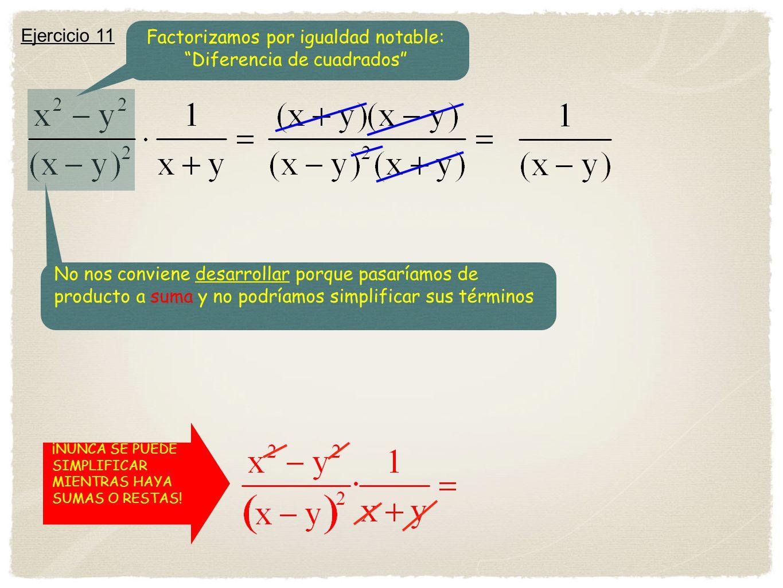 Factorizamos por igualdad notable: Diferencia de cuadrados
