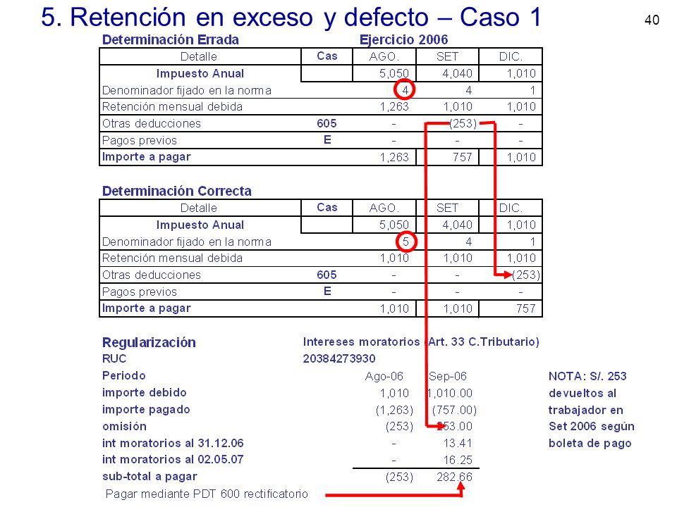 5. Retención en exceso y defecto – Caso 1