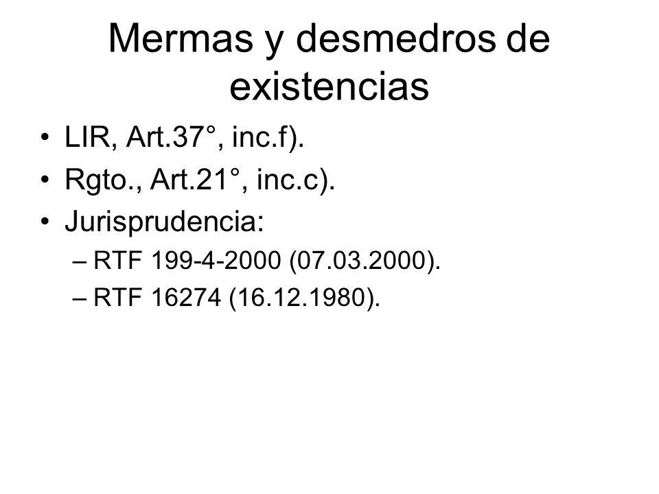 Mermas y desmedros de existencias