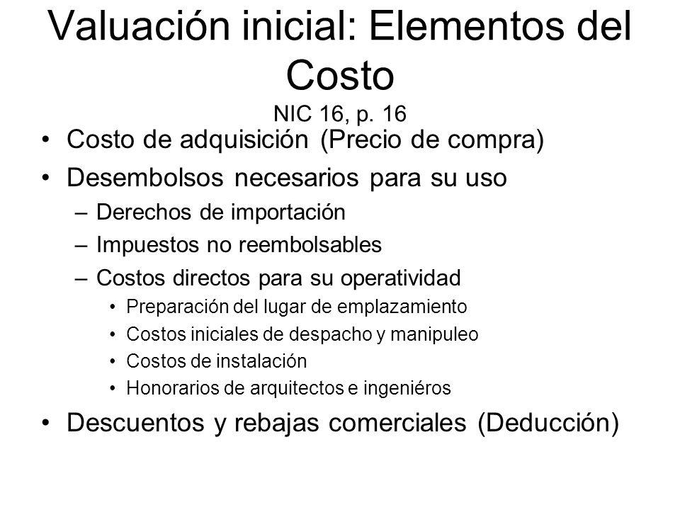 Valuación inicial: Elementos del Costo NIC 16, p. 16