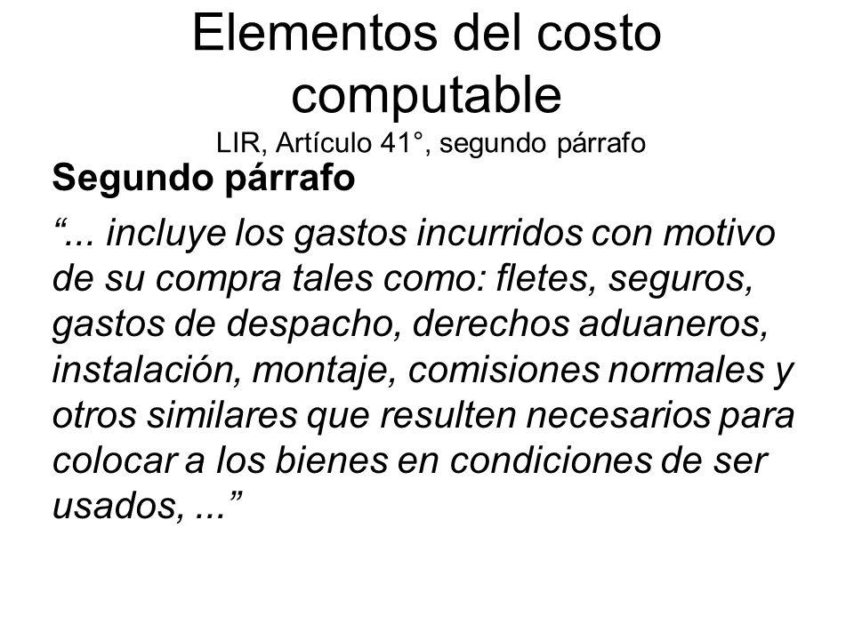 Elementos del costo computable LIR, Artículo 41°, segundo párrafo